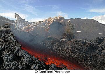 fluxo lava, em, vulcão, etna