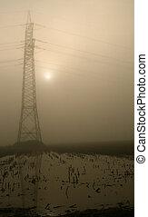 fluxo, mastro, em, a, nevoeiro