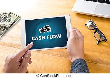 fluxo monetário, dinheiro, investimento, e, gráfico, mapa, investir, operação bancária