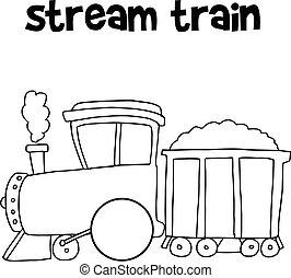 fluxo, trem, de, vetorial, arte
