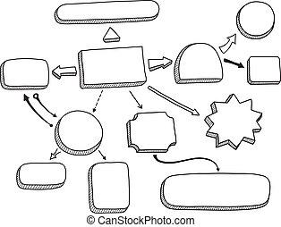 fluxograma, vetorial, ilustração