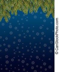 fly., ブランチ, 雪片, sky., 夜, 積雪量, 暗い背景, 年, トウヒ, 新しい, クリスマス