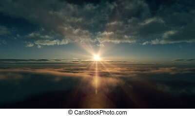 fly above clouds sunrise