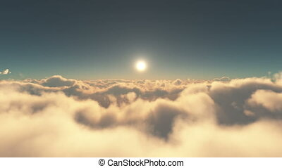 fly above clouds sunset 4k