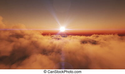 fly above clouds sunset