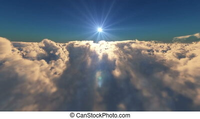 fly above over clouds