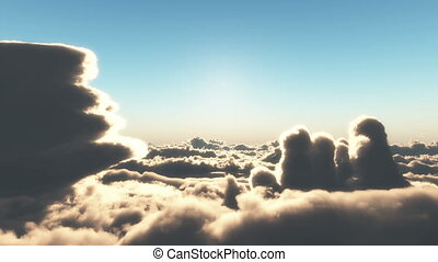 fly above over clouds sunset 4k