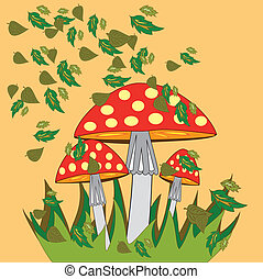 Fly agaric with autumn leaves