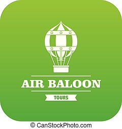 Fly air balloon icon green vector
