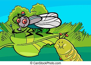 Cartoon Illustration of Funny Fly and Caterpillar Insect Characters
