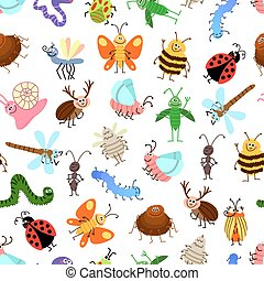 Fly and creeping cute cartoon insects vector pattern for happy kids