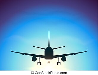 Fly away plane on blue sky background