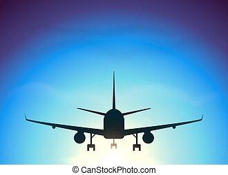 Fly away plane on blue sky background