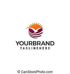 fly bird sun logo design concept template vector