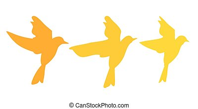 Fly birds. Silhouette isolated on white background. Vector flat hand drawn illustration