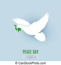 Fly dove - Dove of peace flying with a green twig. ...
