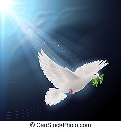 Dove of peace flying with a green twig after flood on dark background