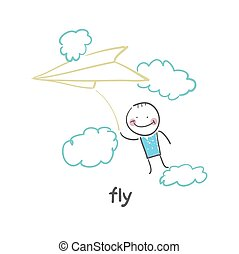 fly. Fun cartoon style illustration. The situation of life.