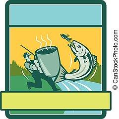 Fly Fisherman Catching Salmon Mug Rectangle Retro