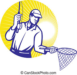 Illustration of a fly fisherman fishing rod reeling and net set inside circle done in retro woodcut style.