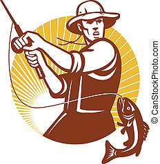 Fly Fisherman Fishing Retro Woodcut - Illustration of a fly ...