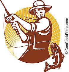 Illustration of a fly fisherman fishing rod reeling largemouth bass fish set inside circle done in retro woodcut style.