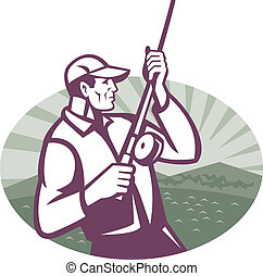 Fly Fisherman Fishing Retro Woodcut - Illustration of a fly...