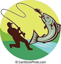Fly Fisherman Hooking Salmon Circle Rero
