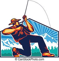 Fly Fisherman Reeling Fishing Rod Retro - Illustration of a...