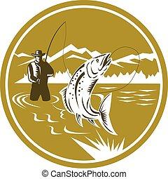Fly Fisherman Reeling Trout Circle Retro