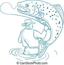 Fly Fisherman Trout Fishing Drawing