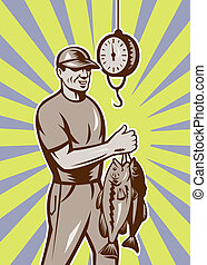 Fly Fisherman weighing fish catch - illustration of a Fly...