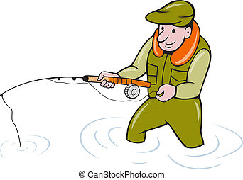 Illustration of a fly fisherman fishing with fishing road done in cartoon style on isolated background.