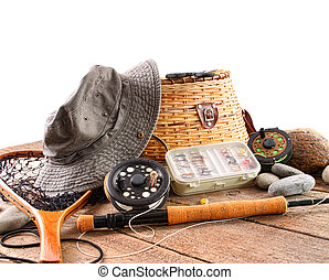 Fly fishing equipment on white background
