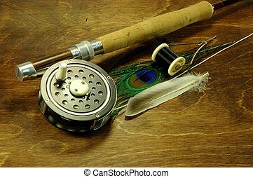 Fly Fishing - Fly fishing rod and tying items