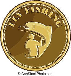 Illustration of a fly fisherman fishing casting rod and reel reeling trout viewed from rear set inside gold brass coin done in retro style.