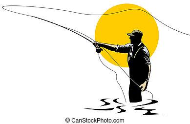 Fly fishing - Illustration on fly fishing