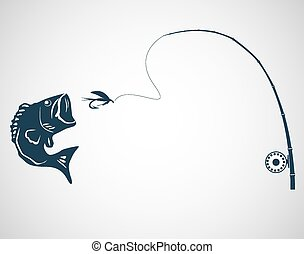 Fly fishing concept on the gray background. Vector.