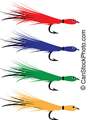 Fly fishing lures. - Colourful fly fishing lures.