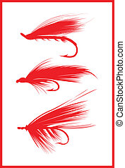 Fly fishing lures. - Fly fishing lures in red.