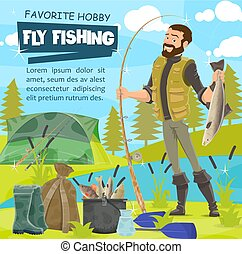 42a2fdf515cd4 Fisherman fly fishing with net. Illustration of a fisherman fly ...