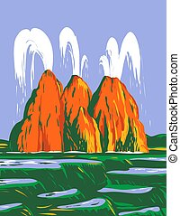 WPA poster art of the Fly Geyser or Fly Ranch Geyser, a small colorful geothermal geyser located in Washoe County, Nevada, done in works project administration or federal art project style.