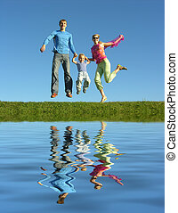 fly happy family  and water