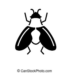 fly icon, vector illustration, black sign on isolated background