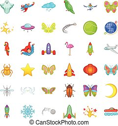 Fly icons set, cartoon style