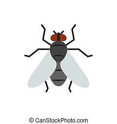 Fly single flat icon. Insect simple sign in cartoon style. Housefly pictogram. Wildlife symbol. Entomology closeup color vector illustration isolated on white. Graphic design element for card, logo