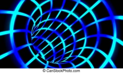 Fly Inside Blue Digital Tunnel Grid in Connected Secure Computer Network - 4K Seamless Loop Motion Background Animation