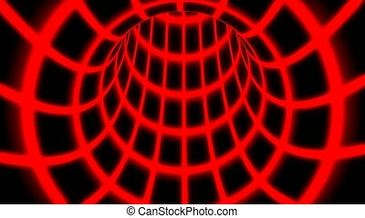 Fly Inside Red Digital Tunnel Grid in Connected Secure Computer Network - 4K Seamless Loop Motion Background Animation