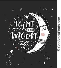 Fly me to the moon poster. - Fly me to the moon monochrome...