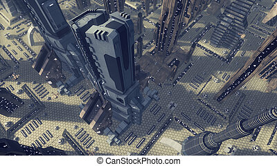 Fly over a futuristic scifi city. 3D rendering